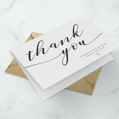 £3.99 • Buy 10 X Personalised Wedding Thank You Cards - Folded Format + Envelopes Pack