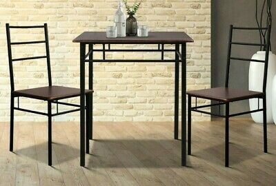 AU99.67 • Buy 3 Piece Dining Sets Metal Dinning Table With Chairs Sturdy Walnut & Black - New