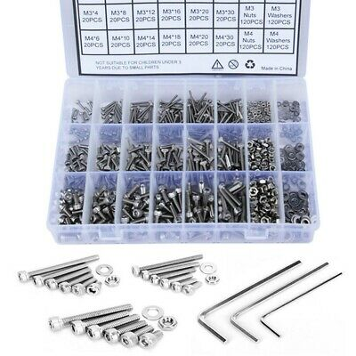 1080pcs M2 M3 M4 Screw Bolts & Nuts And Washer Set Hex Head Cap Stainless Steel • 13.99£