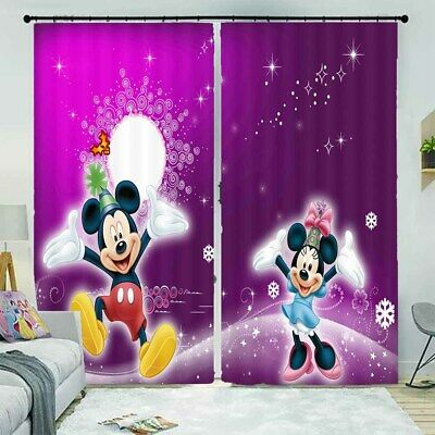 Mickey Mouse Purple Hat 3D Curtain Blockout Photo Printing Curtains Drape Fabric • 33.26£