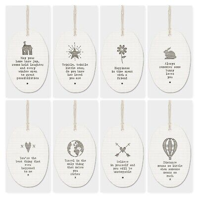 East Of India White Porcelain Hanger With Sayings Family Friends Gift 5.5x8cm • 5.99£