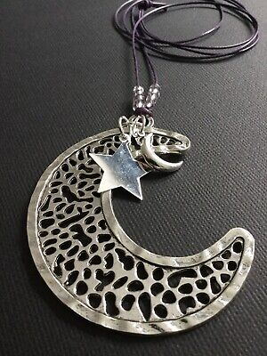 Long PURPLE CORD Necklace With A Huge Silver Moon And Stars Pendant Lagenlook • 3.69£