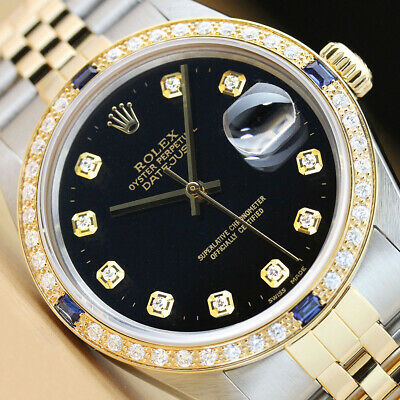 $ CDN8269.87 • Buy Rolex Mens Datejust 2-tone 18k Yellow Gold Diamond Sapphire Watch & Rolex Band
