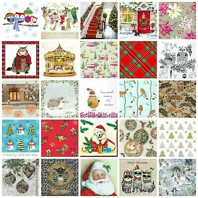 Christmas Paper Napkins (Packet X 20) Festive Designs Party Crafting Decoupage • 3.99£