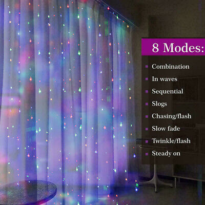 $9.53 • Buy 300 LED 3M*3M Fairy String Lights Indoor Outdoor Curtain Window Wedding Decor