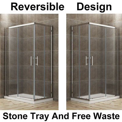 1100x700mm Shower Enclosure Corner Entry Cubicle Glass Screen Shower Door & Tray • 226.99£