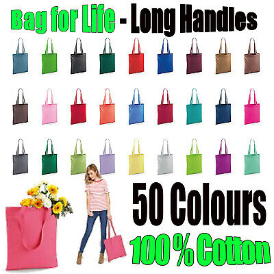 Shopping Bag Bright Tote Long Handle Bag For Life Cotton  • 2.99£