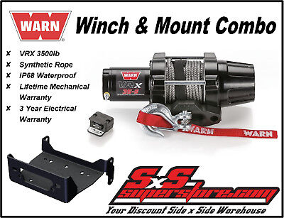 Winch with Synthetic Rope and Mount Plate 3500 lb for Yamaha Kodiak 700 EPS 4X4 2016-2019