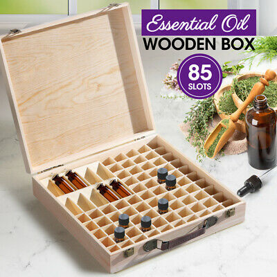 AU29.99 • Buy Essential Oil Storage Box Wooden 85 Slots Aromatherapy Container Organiser Case