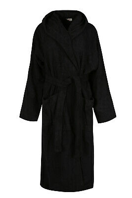 $25.99 • Buy Black Luxury Hooded Bath Robe Men 100% Terry Cotton Toweling Dressing Gown Spa