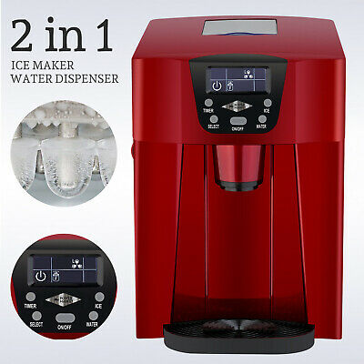 $1118.90 • Buy 2 In 1 Electric Countertop Ice Maker Machine 26LBS Compact Water Dispenser Red