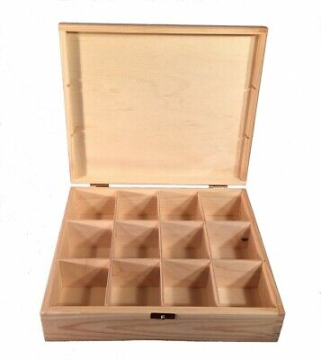 Tea Box Container 12 Compartments Natural Wood Woodeeworld • 11.99£
