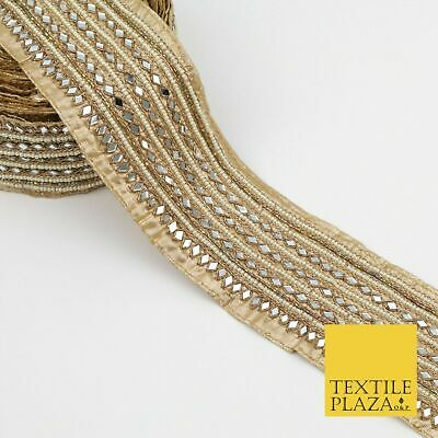 Luxury Gold Intricate Real Mirror & Pearl Trimming Border Lace Ethnic Gota X246 • 138£