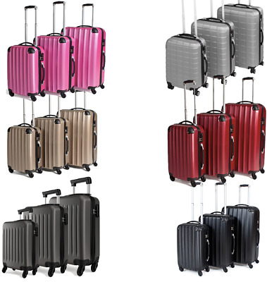 Hard Shell Trolley Suitcase 4 Wheel Spinner Lightweight Luggage Travel Case • 19.99£