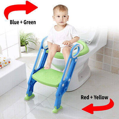 Foldable Childrens Toilet Seat Ladder Toddler Training Step Up For Kids Baby • 16.99£
