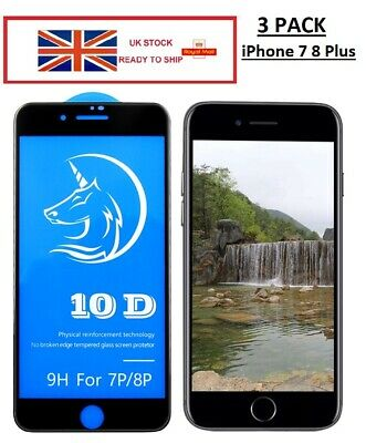 3x Pack Full Cover Real Tempered Glass Screen Protector For IPhone 7 8 PLUS 10D  • 2.99£