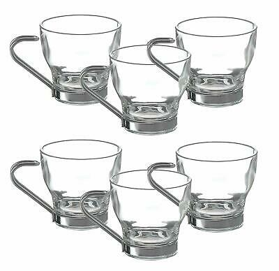 Set Of 6 Metal Handle Coffee Glass Espresso Expresso Cups 80ml Small Expresso  • 9.25£