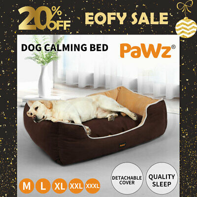 AU39.99 • Buy PaWz Pet Dog Cat Bed Deluxe Soft Cushion Lining Warm Kennel Mat Washable Brown