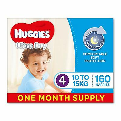 AU78.59 • Buy Huggies Ultra Dry Nappies Boys Size 4 Toddler 10-15kg 160 Count One-Month Supply