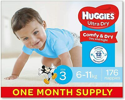 AU75.59 • Buy Huggies Ultra Dry Nappies Boys Size 3 Crawler 6-11kg 176 Count One-Month Supply