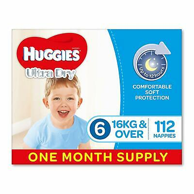 AU85 • Buy Huggies Ultra Dry Nappies Boys Size 6 Junior 16kg+ 112 Count One-Month Supply