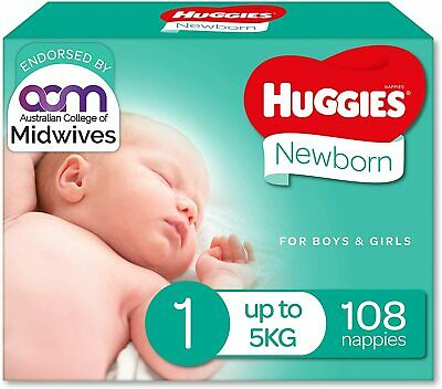 AU49.59 • Buy Huggies Ultimate Nappies, Unisex, Size 1 Newborn (Up To 5kg), 108 Count