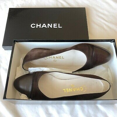 £170 • Buy CHANEL Brown Black Suede And Leather Ballet Flats Ballerina Pumps, UK 4.5 US 7.5