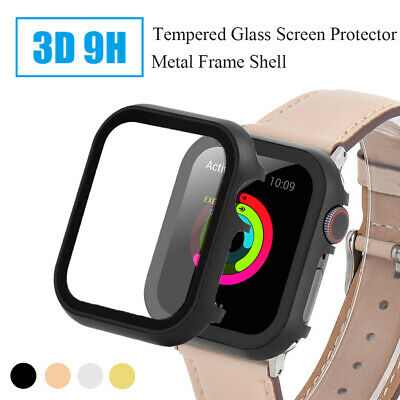 $ CDN3.93 • Buy For Apple Watch Series 4/3/2/1 Tempered Glass Screen Protector Metal Shell Cover