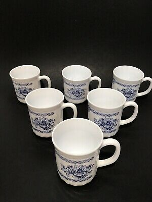 Lot Of 6 Arcopal France Honorine Blue Rose Coffee Cups • 31.99$