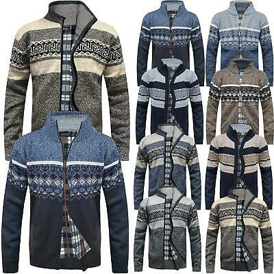 Mens Zip Up Aztec Fleece Lined Knitted Cardigan Xmas Argyle Wool Blend Jumper • 14.99£