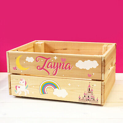Personalised Kids Unicorns & Fairy Tale Theme Wooden Toy Box Crate For GIRLS • 22.50£