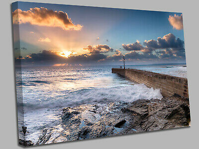 £17.99 • Buy Porthleven On The Cornwall Coast Susnet  Canvas Wall Art Picture Print