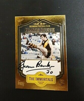 AU55 • Buy Richmond Tigers - Francis Bourke Select Signature Signed Card The Immortals