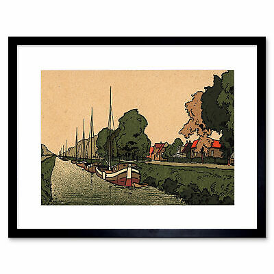 £24.50 • Buy Painting Netherlands New Canal Amsterdam Boat Barge Framed Print 12x16 Inch