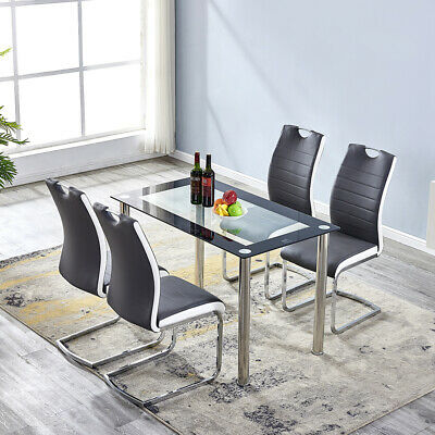 Dark Grey Faux Leather High Back PU Dining Chair&Glass/Marble Dining Table Set  • 225.99£