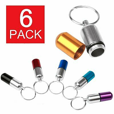 $6.49 • Buy 6 Pack Aluminum Pill Case Keychain Holder With Inner Container