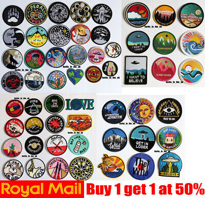 Popular Round Sew Iron On Patch Badge Transfer Fabric Jeans Applique Crafts • 2.48£