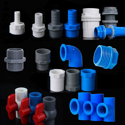 £1.99 • Buy PVC Water Supply Pipe BSP Threaded Fittings Adapter Joint Various Sizes - 3Color