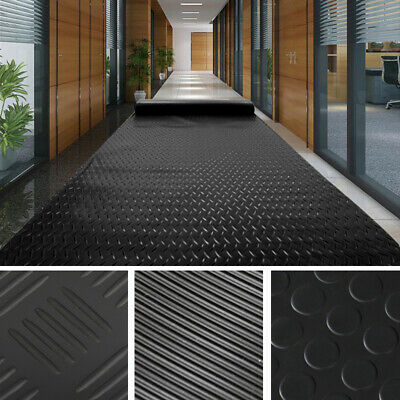 Checker/Coin/Ribbed Corrugated Floor Mat Gym Garage Shed Flooring Rubber Matting • 28.74£