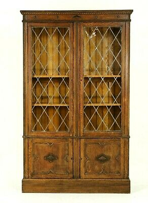 $1850 • Buy Antique Bookcase, Leaded Glass Bookcase, Arts And Crafts, Scotland, B1356