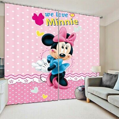 £95.23 • Buy Shy Blue Mickey Mouse 3D Curtain Blockout Photo Printing Curtains Drape Fabric