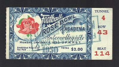 $50 • Buy 1950 Rose Bowl, California Vs. Ohio State College Football Ticket Stub