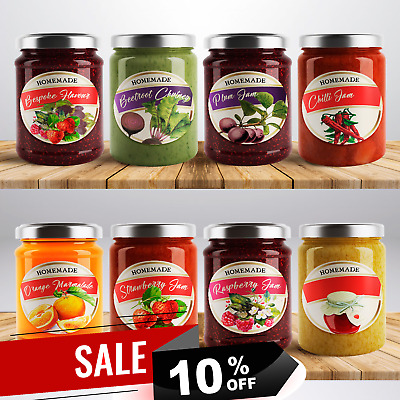 £3.50 • Buy 48 X Bude Personalised Jam Pot Lid Jar Labels Stickers Preserves Conserve