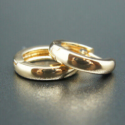AU5.99 • Buy 18k Gold Plated Huggie Hoop Hinged 13mm Sleeper Earrings Non-allergenic AUS MADE