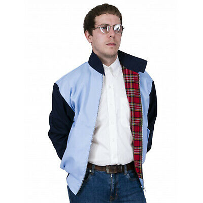 Relco Men's Harrington Sky Blue & Navy Blue Vtg 50's Look Rockabilly Jacket   • 36.99£