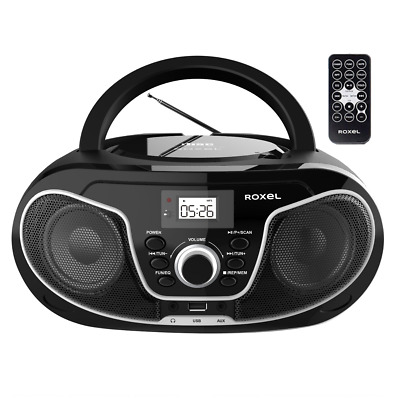 Roxel RCD-S70BT Boombox CD Player With Bluetooth, Remote Control, Radio, Black • 39.99£