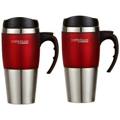 AU35 • Buy 2PK Thermos Cafe 450ml Vacuum Stainless Steel Hot/Cold Travel Mug/Flask Red