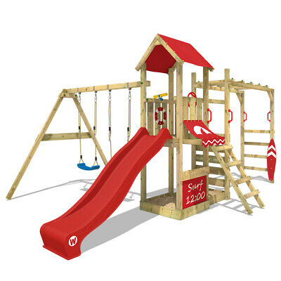 £569.95 • Buy WICKEY Wooden Climbing Frame Swing Set Smart Dock With Red Slide & Climbing Bars