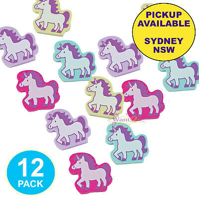 AU9.95 • Buy Unicorn Party Supplies 12 Erasers Shaped Rubbers Rainbow Birthday Favours