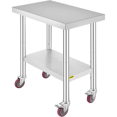 £87.98 • Buy 18 X30  2 Tier Stainless Steel Work Prep Table With 4 Wheels Commercial Kitchen